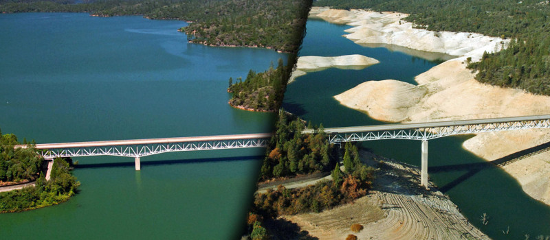Lake Oroville before the drought and during the drought
