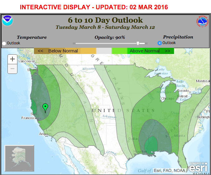 current 6 10 day outlook from noaa showing above average precipitation forecast for just about