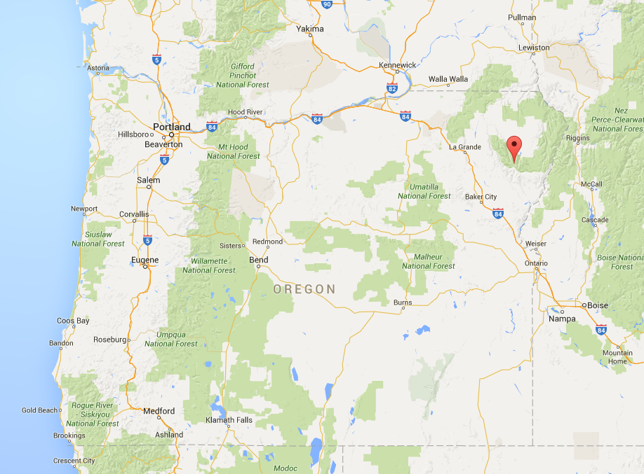 Map showing location of Wallow Mountains, OR.