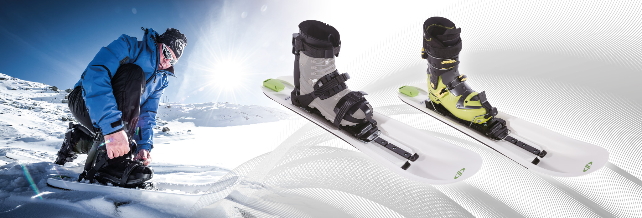 compatible with both a soft boot (snowboard) and hard boot (ski)