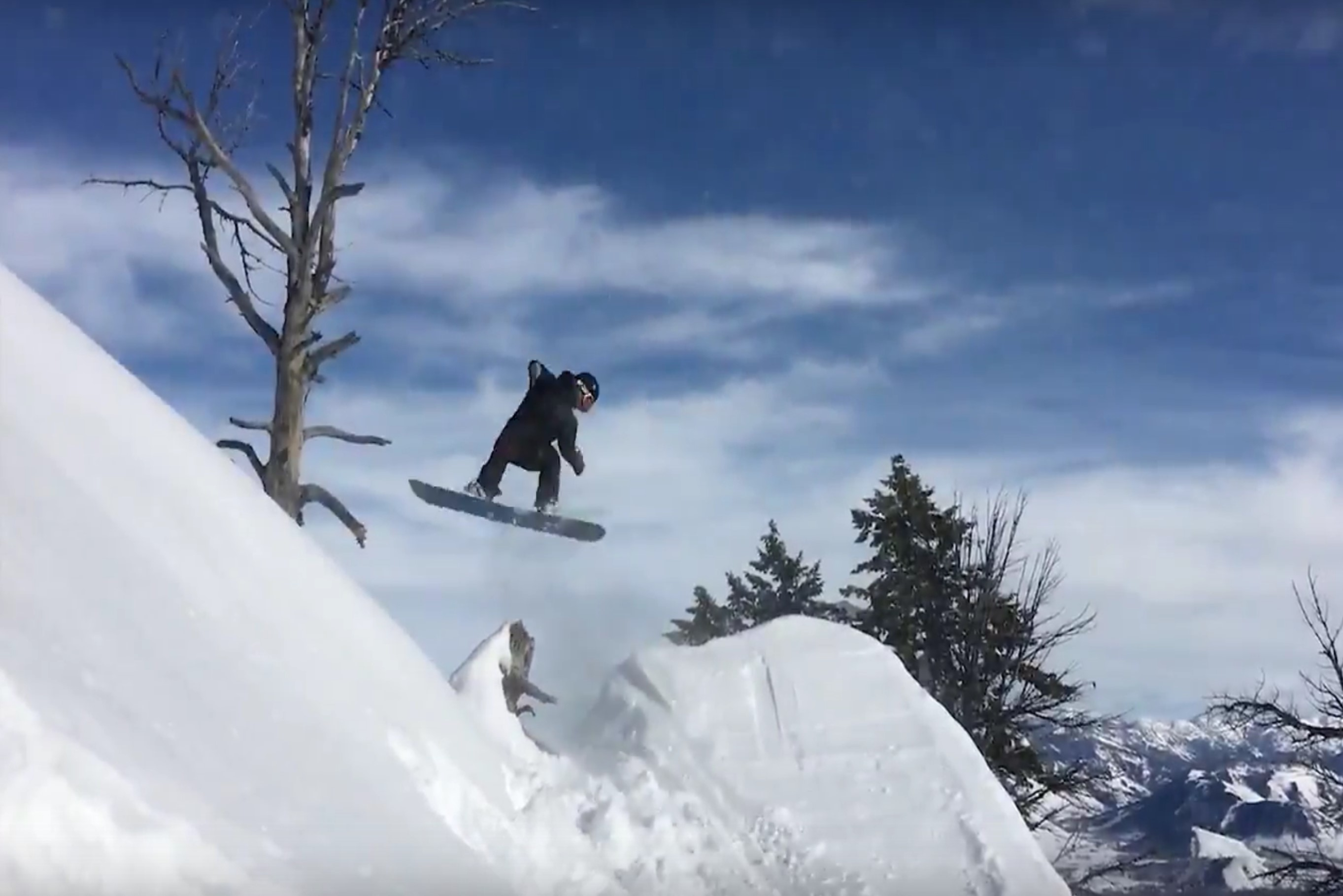 Hunter Swanson working on a secret rotation on a backcountry booter