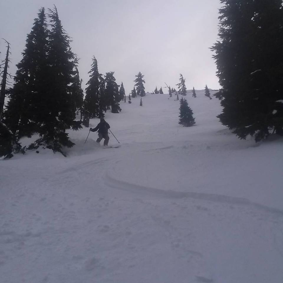 Skiing some powder on Mt. Bailey during a recent skinning trip we did a few weeks back.