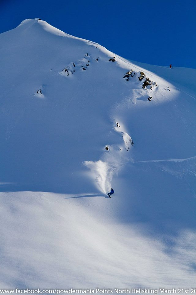 Matt Ward finds blower in the low angle terrain, Pic credit Pat Fux Powdermania