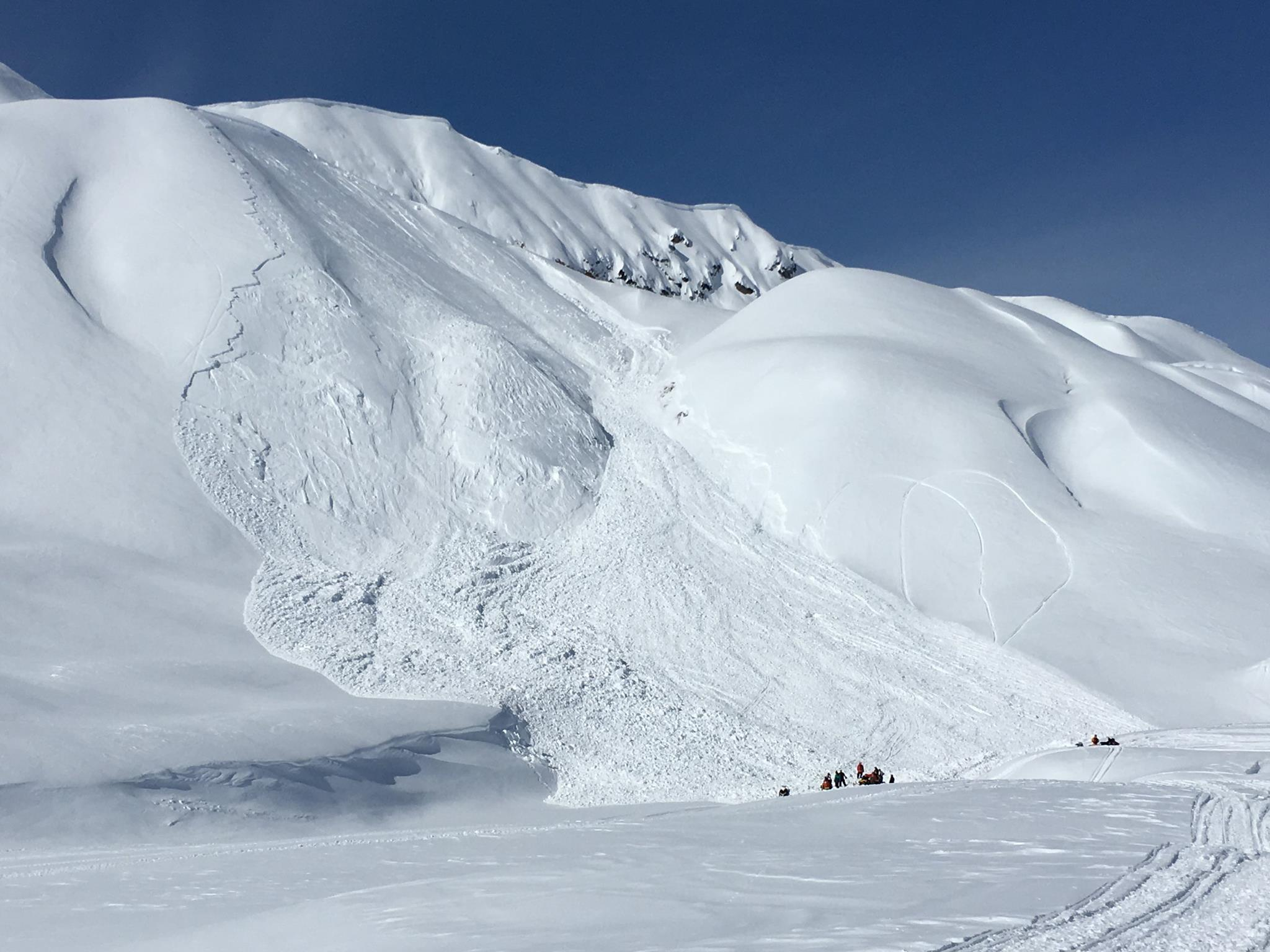 The massive avalanche that killed the snowmobiler on Sunday.