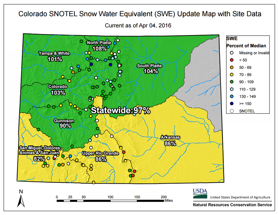 Average Annual Snowfall Totals in Colorado - Current Results