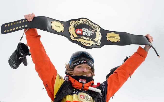 Estelle Balet after winning the Freeride World Tour this year.