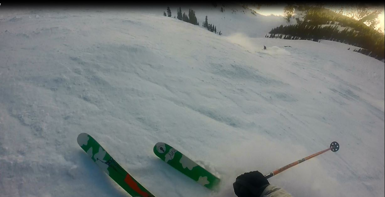 looking down Highland Bowl with perfect chalk to be had