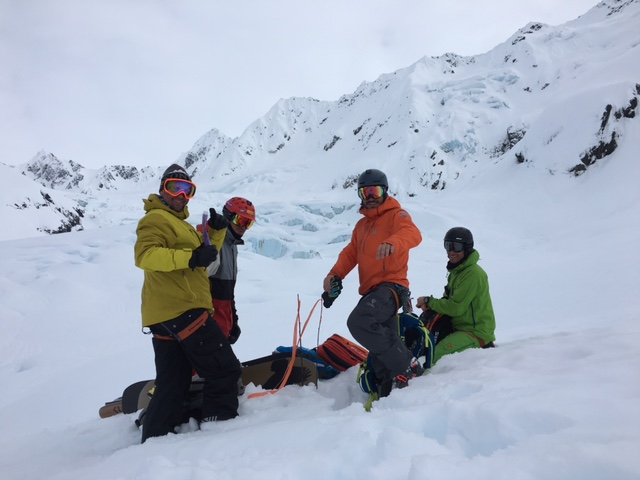 Safety meeting on the glacier with Tino, best meeting I have been to.