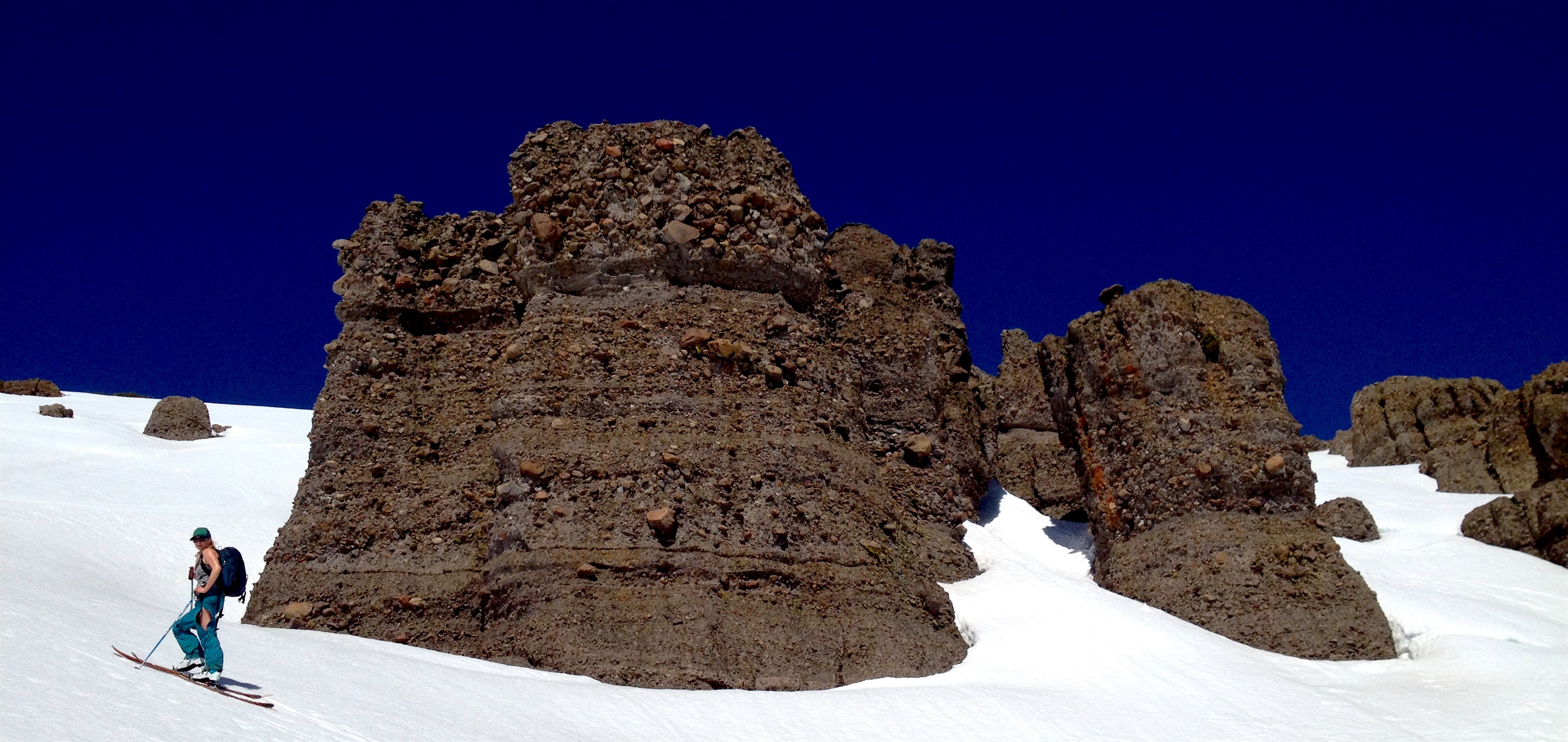 Katy and bizarre rock formations today. photo: miles clark/snowbrains