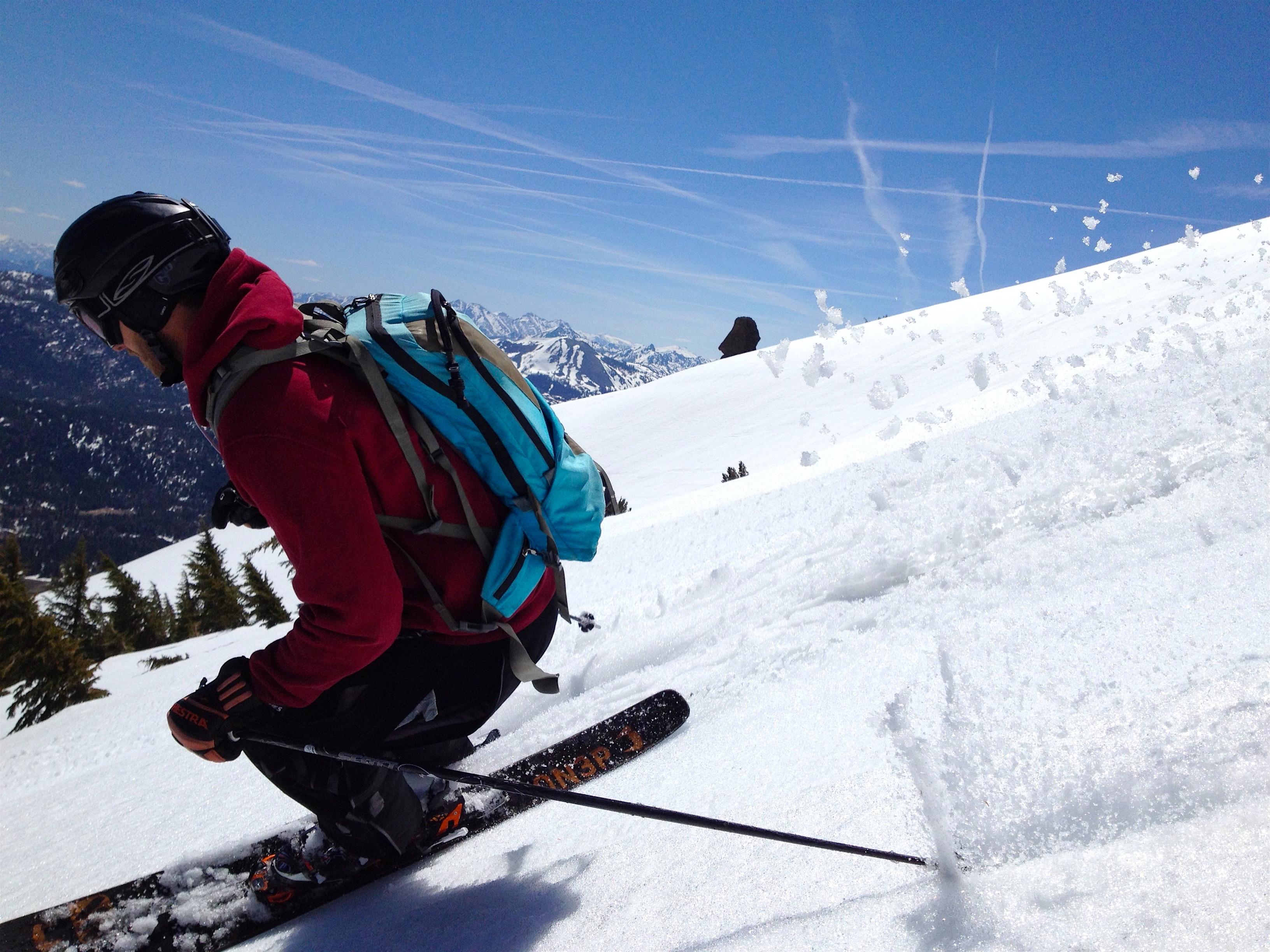 Rick slush spray today. photo: miles clark/snowbrains