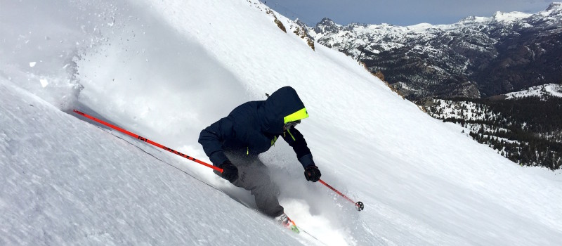 Miles in the perfect snow in lower Hangman's today.  photo:  snowbrains