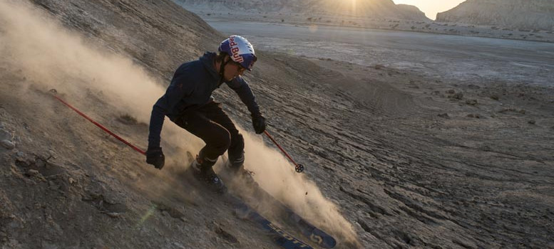 Fabian Lentsch and his crew of snowmads ski the dry lunar landscape of this Iranian desert.