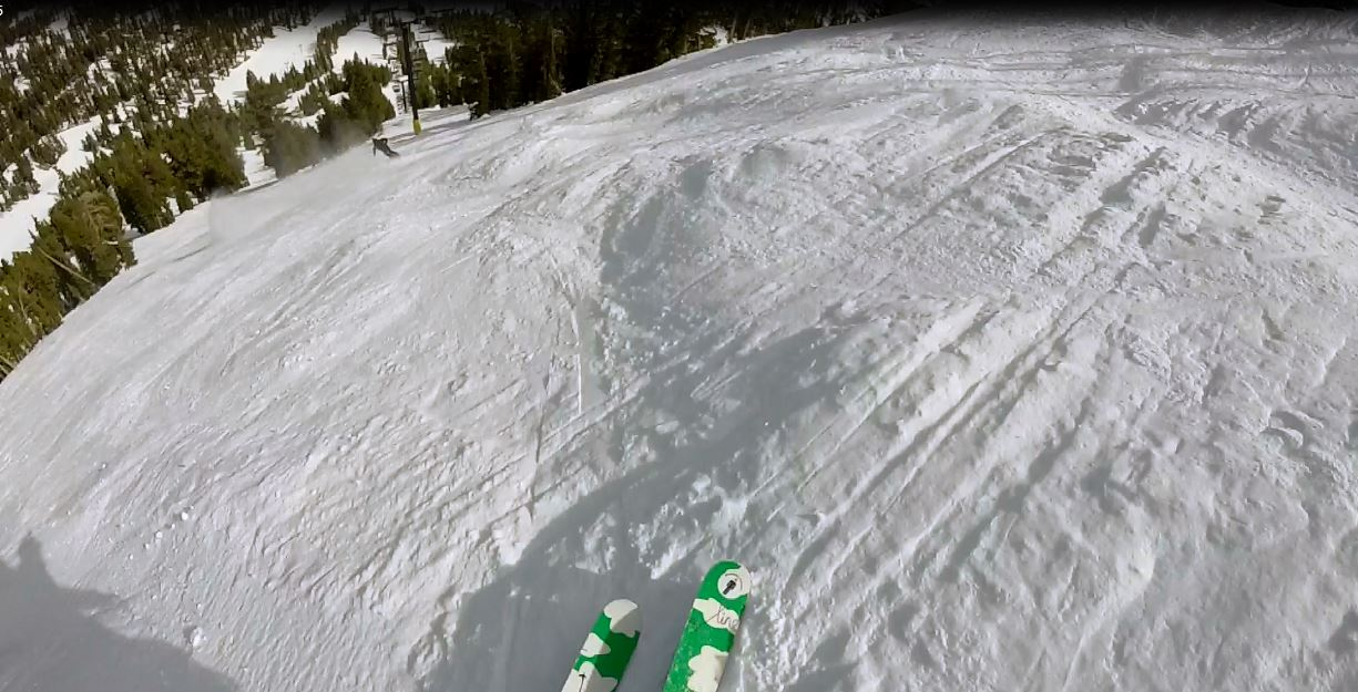 Chasing Dylan down the Avi chutes off chair 22 in perfect chalk