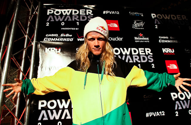 A younger Tanner at Powder Awards