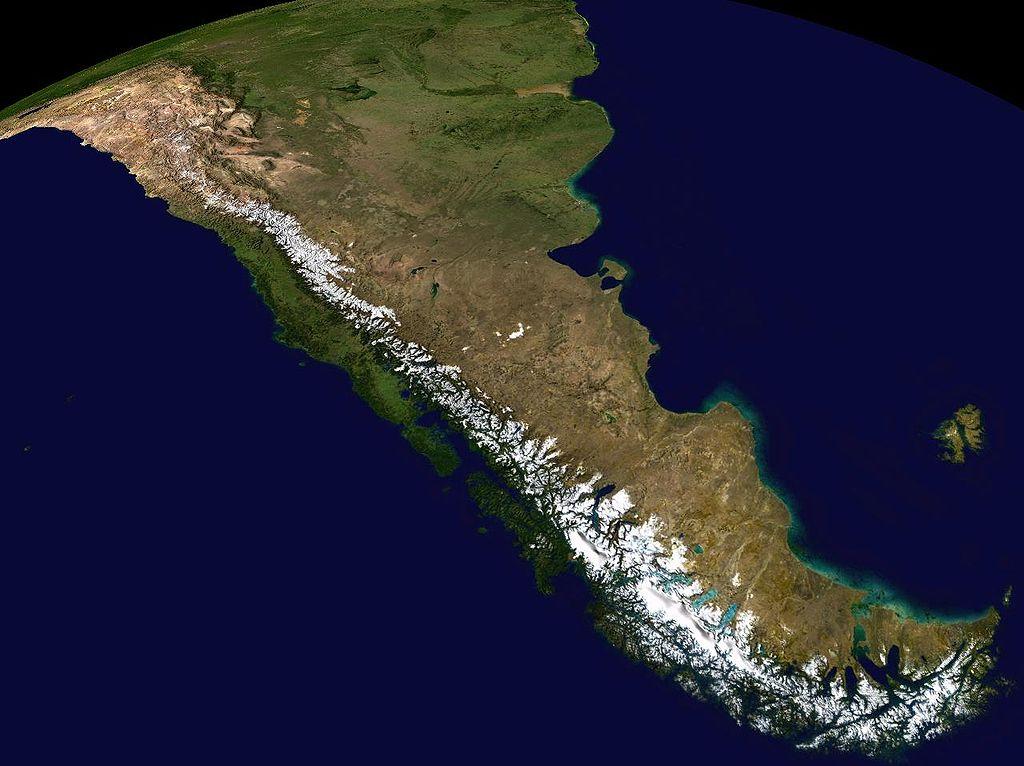 Andes Mountains = 4,500 miles long. image: nasa
