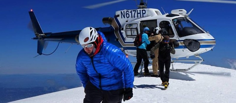 """Rich Meyer after loading the patient into the helo at 14,000'. SMG came the aid of an independent climber who sustained life threatening injuries after falling from the summit of #mtshasta.  Special thanks to Rich Meyer, Sean Malee, Polly Layton and all of the guides and the amazing flight crew that executed the highest ever rescue on Mt. Shasta. We are honored to be part of such a professional, skilled, and compassionate crew and so grateful for the positive outcome of this incident."" - Chris Carr.  image:  chris carr"