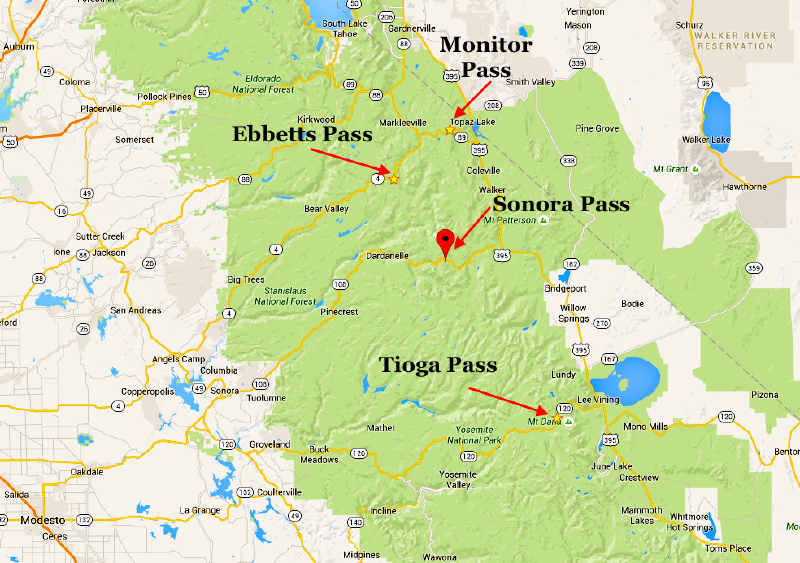 Sonora and Tioga passes could offer solid powder days on Monday. Heads up for avalanches.