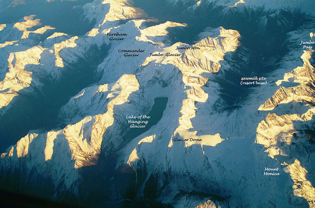 Jumbo glacier area from the air. Resort base in parenthesis on right.