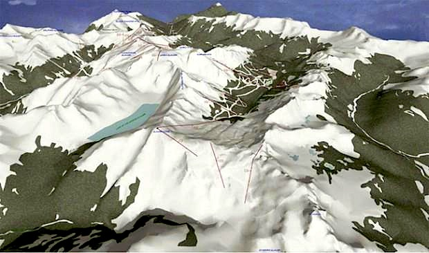 Jumbo glacier 3D rendering with 20 chairlifts