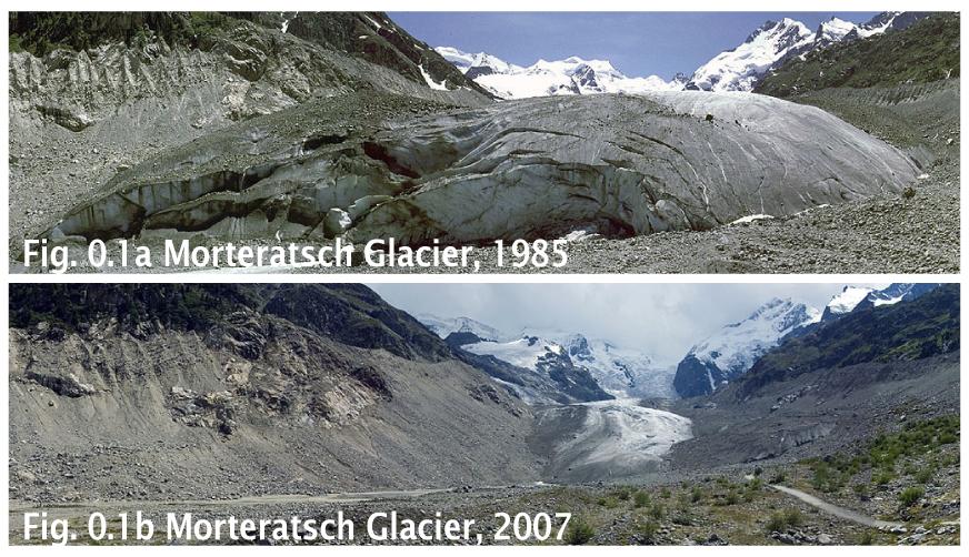 Morteratsch glacier retreat.