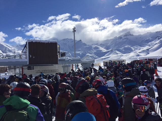 Large lines & not much open at Las Lenas, Argentina today. Only Caris chair open. 1 hour lines. photo: am