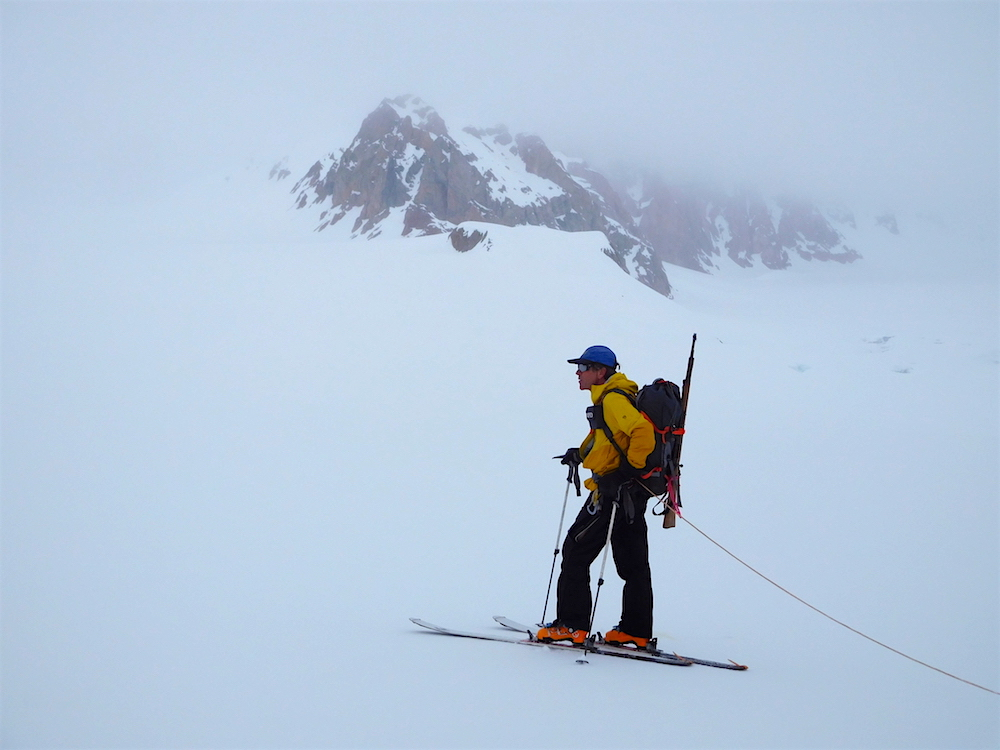 Stoic Andrew on glacier. photo: snowbrains