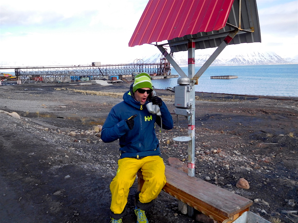 Miles on a heavy call in Pyramiden. photo: snowbrains
