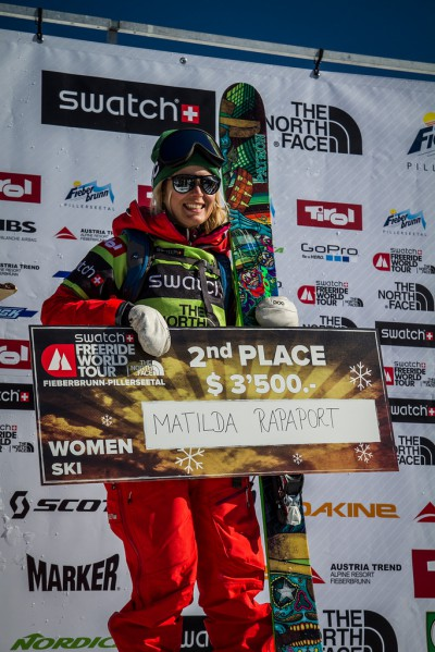 Matilda with a 2nd place finish on the Freeride World Tour. photo: ziu haller