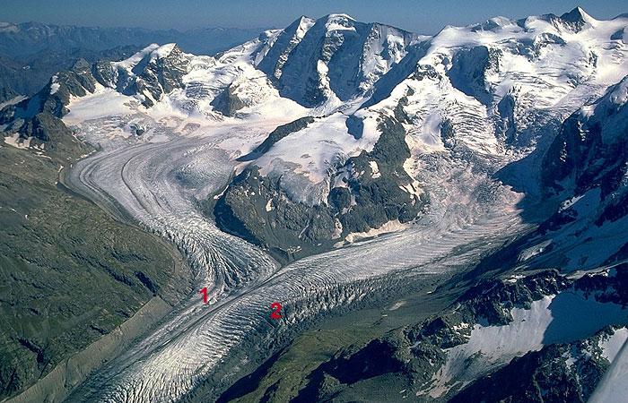 Morteratsch glacier on the right.