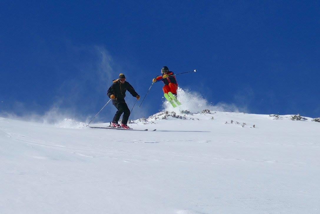 Synchronized skiing in the Falls Creek backcountry. August 2016. photo: skiing with steve lee