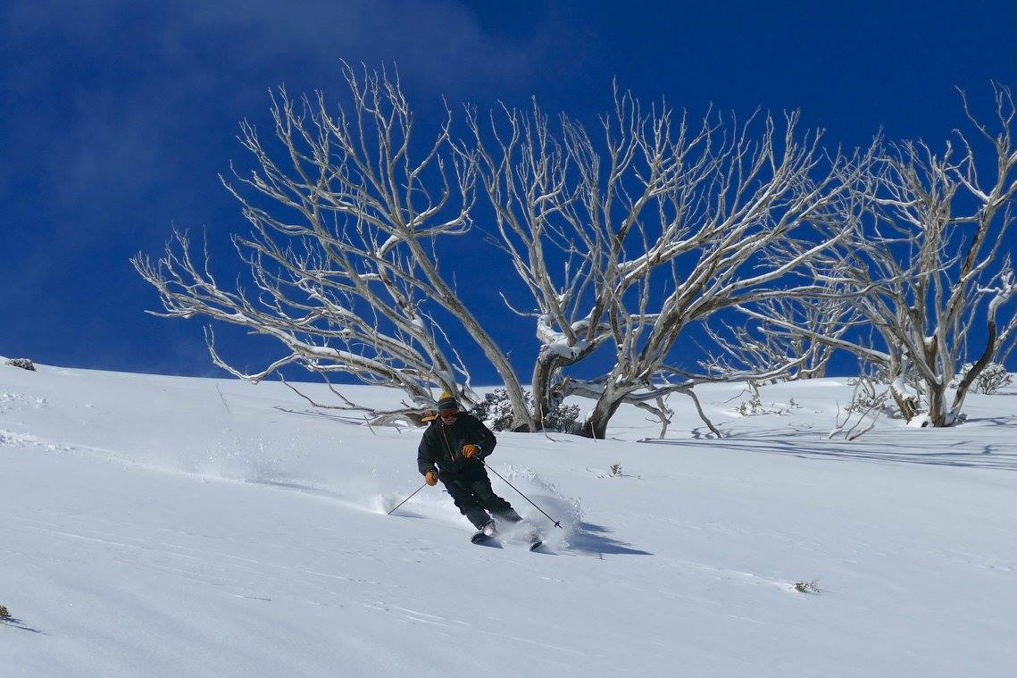 Dr. Seuss backcountry skiing near Falls Creek. August 2016. photo: skiing with steve lee