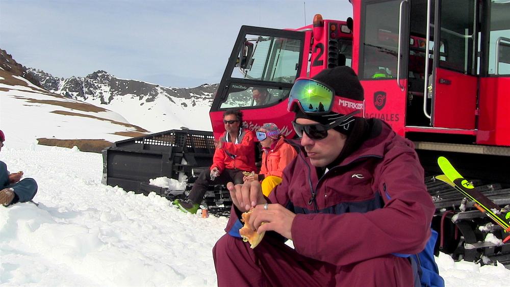 Lunch is good. Baguales brings lunch, snacks, drinks, and killer brownies. photo: snowbrains