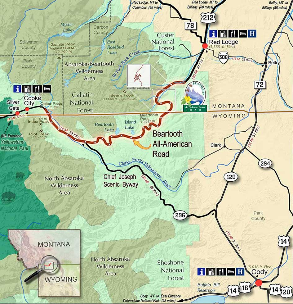 Beartooth Pass map.
