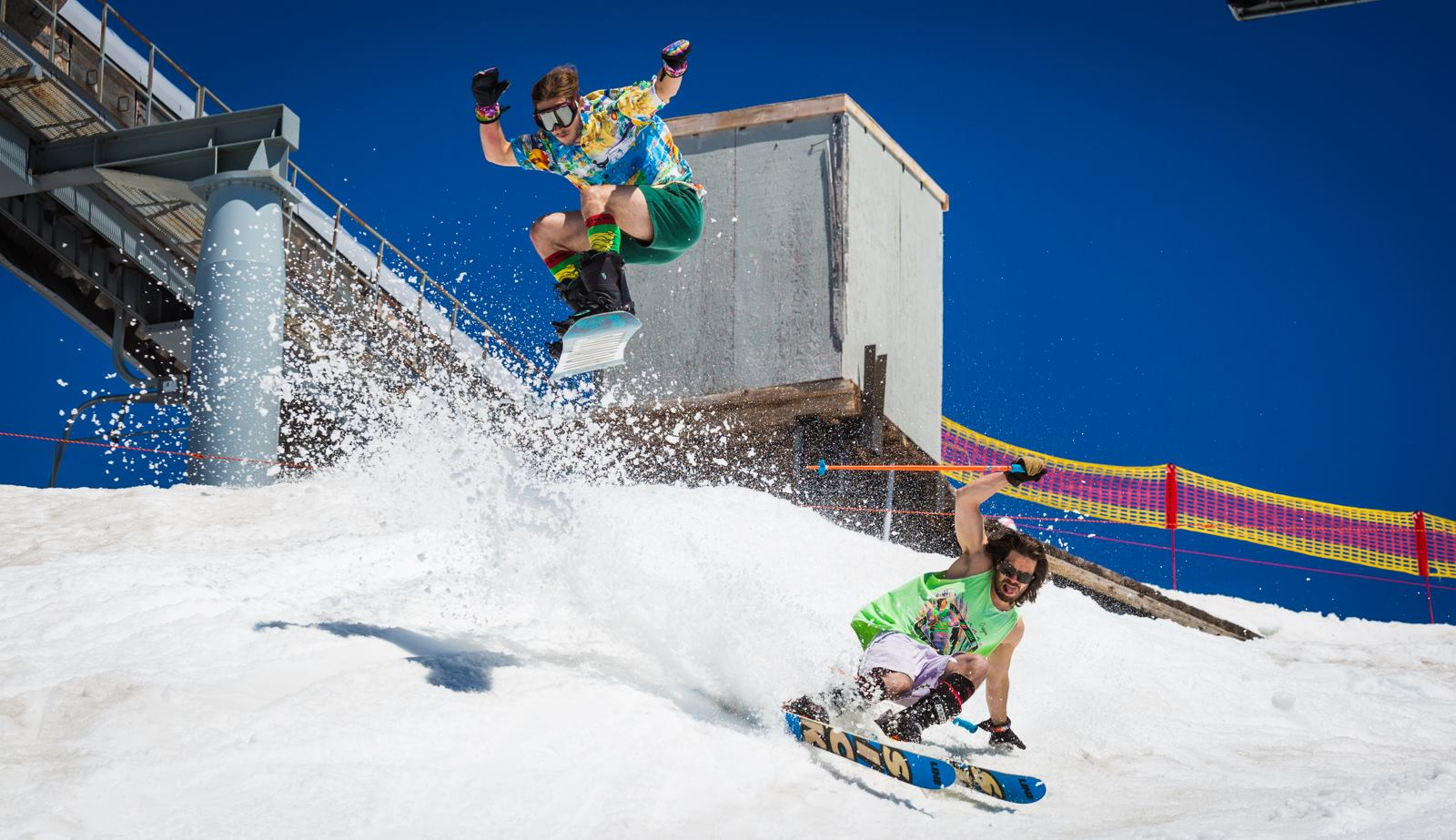 Ripping the Palmer Snowfield at Timberline Lodge, OR this summer. photo: timberline lodge
