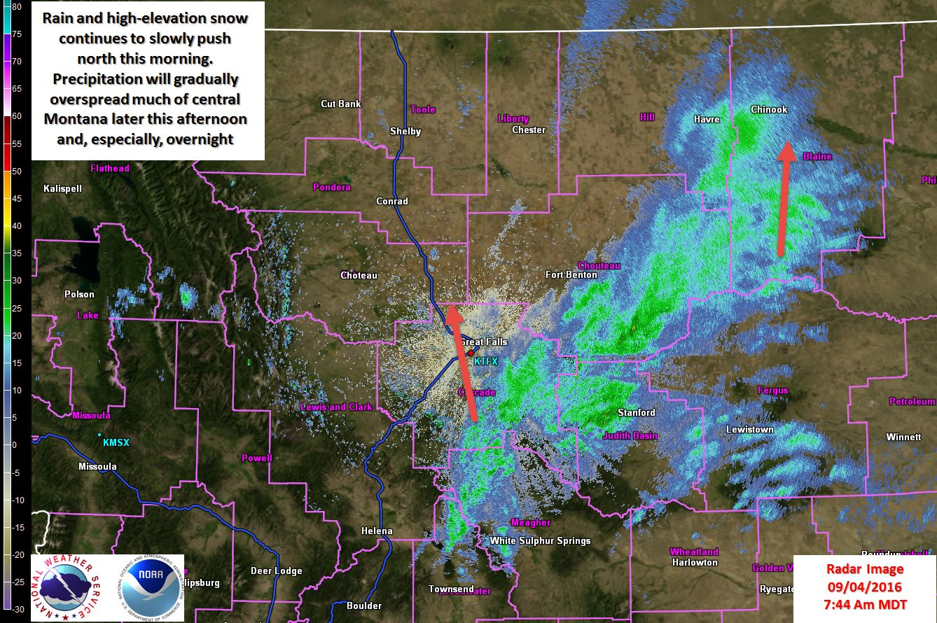 Radar update showing the location of the rain and snow in Montana at 8am MST today. image: noaa, today