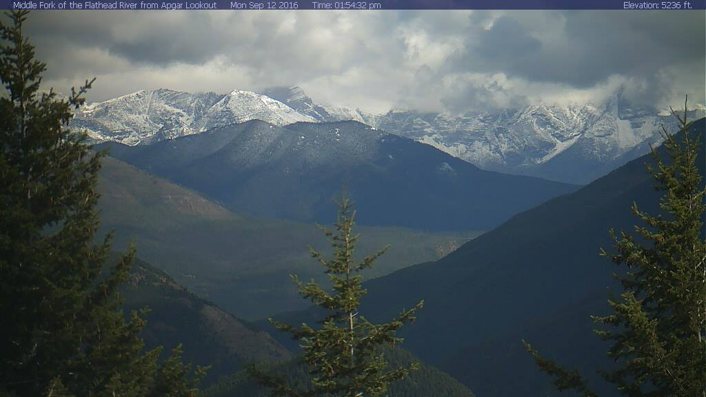 """""""Well, isn't that a view! New snowfall from yesterday can be seen on the Glacier National Park webcam today."""" - NOAA Missoula, MT on September 12th"""
