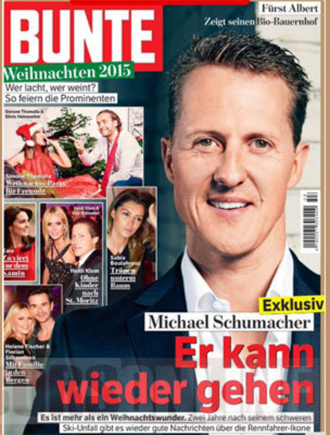 """The cover of Bunte magazine described Schumacher's improved condition as a """"Christmas miracle""""."""