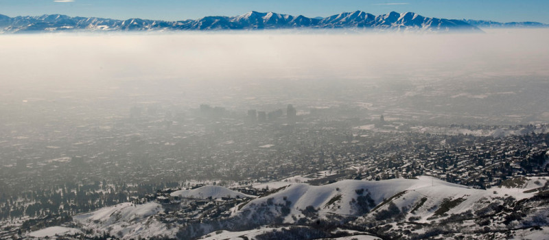 """Known as an """"Inversion"""" in Salt Lake it is really just air pollutants trapped between the two large mountain ranges."""