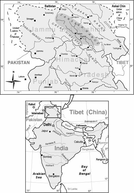 Map showing the Zanskar mountain range. image: wikipedia