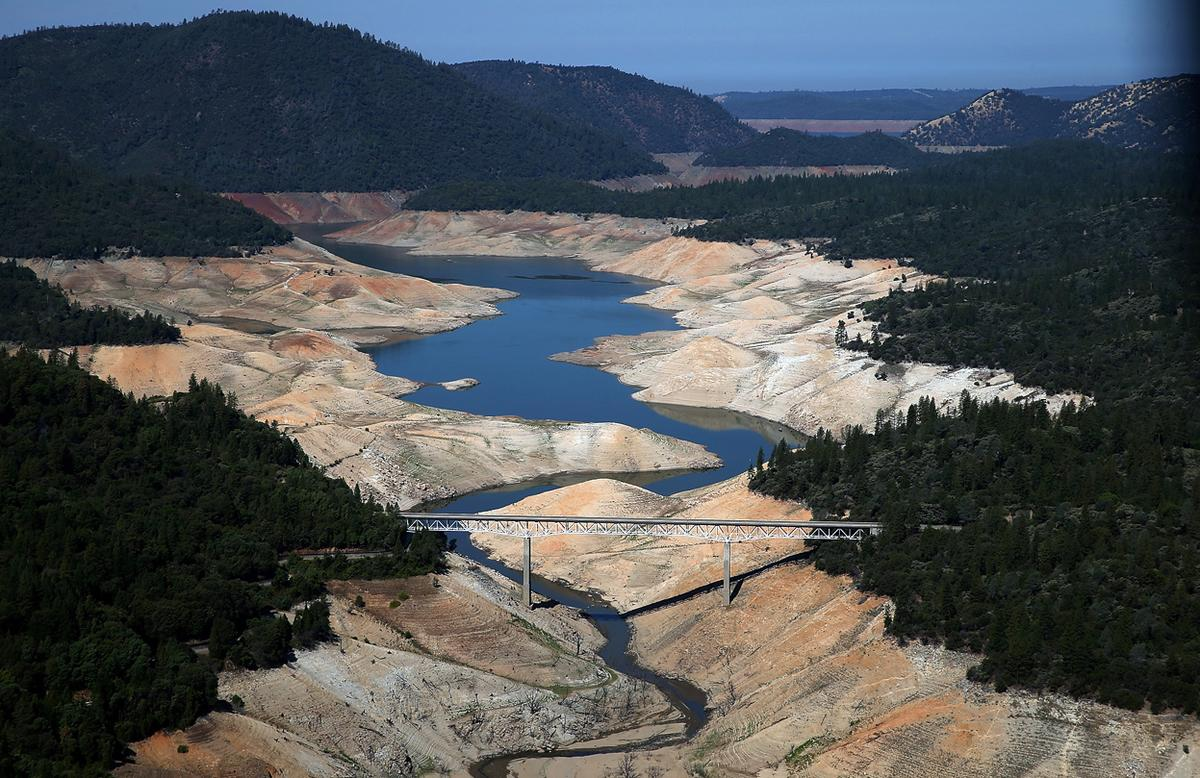 Lake Oroville, CA nearly dry on August 19, 2014 in Oroville, California. photo: Justin Sullivan/Getty Images