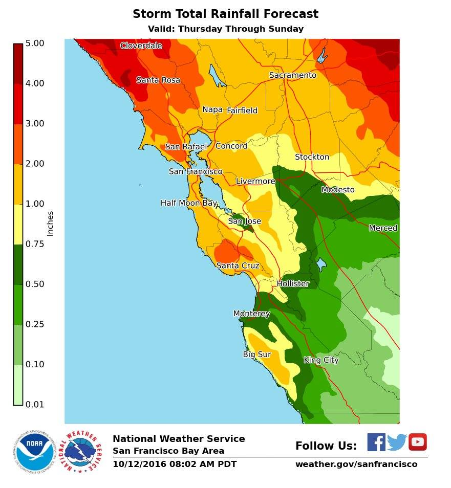 Big rain for San Francisco Bay Area. image: noaa, today