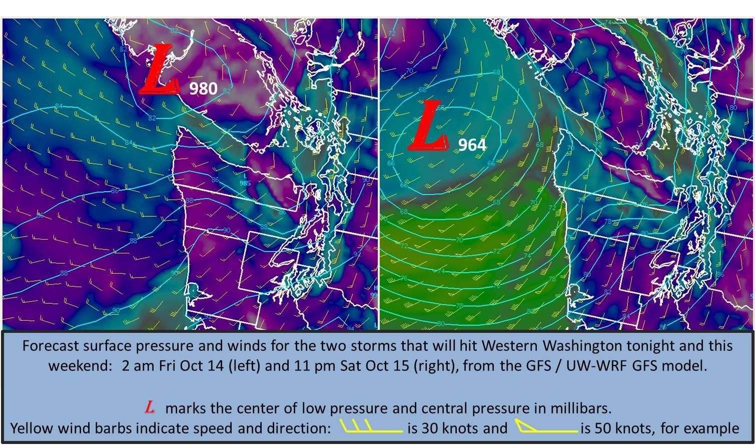 Big wind for WA. image: noaa, seattle wa today
