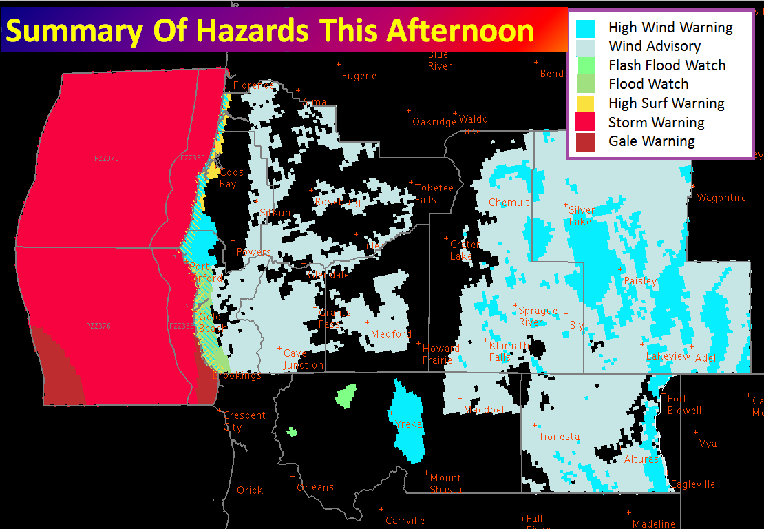 7 advisories issued for southern Oregon currently. image: noaa, today