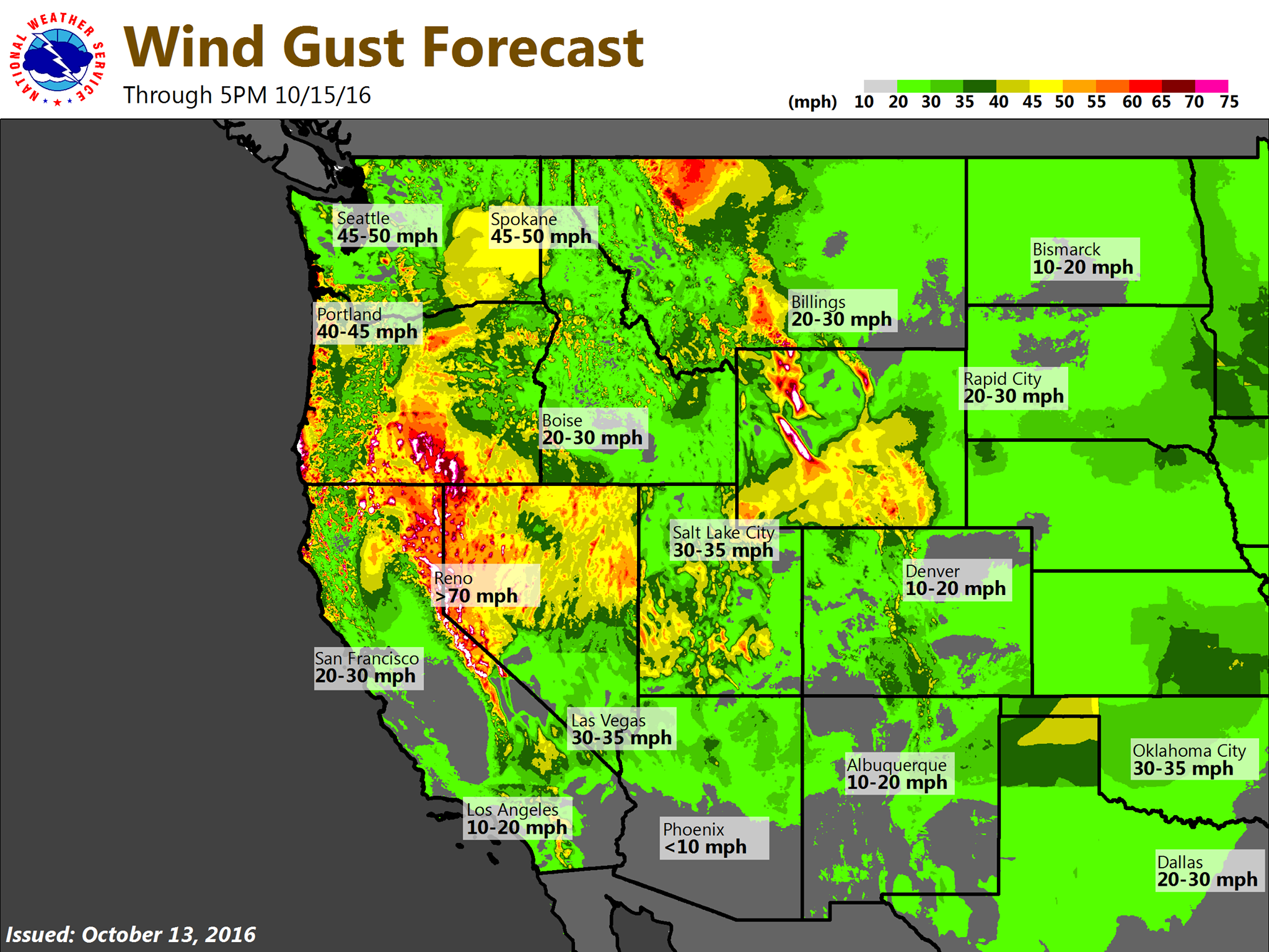 Big wind for the West this weekend. image: noaa, today