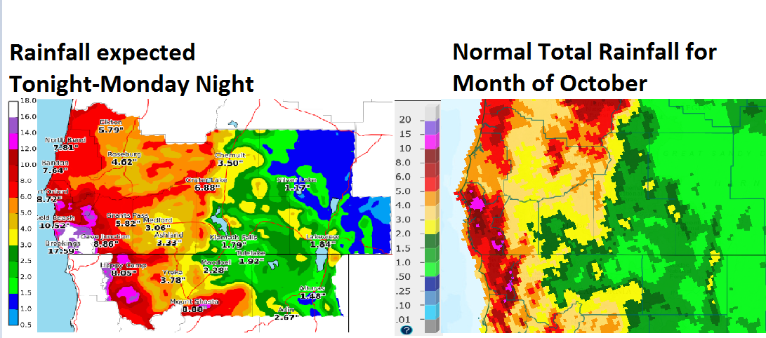 """""""Many places can expect more rain over the next few days than the normal rainfall totals for all of October!"""" - NOAA Medford, OR today"""