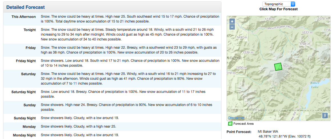 """103-139"""" of snow forecast for near the summit of 10,762' Mt. Baker, WA in the next 4 days. image: noaa, today"""