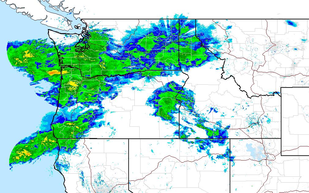 Current USA radar at 2:45pm PST. image: noaa, today