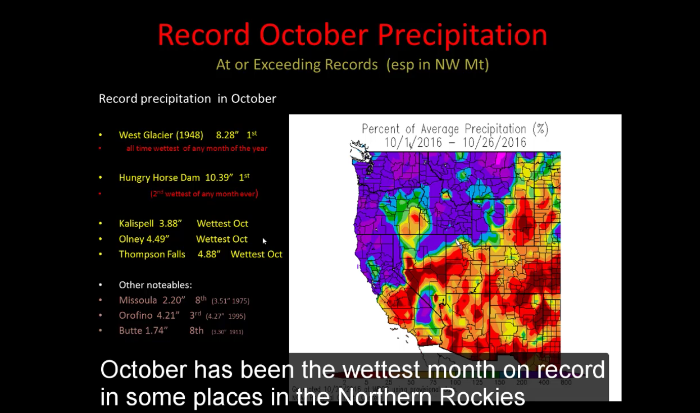 Record precipitation this month in Northern Rockies. image: noaa, yesterday