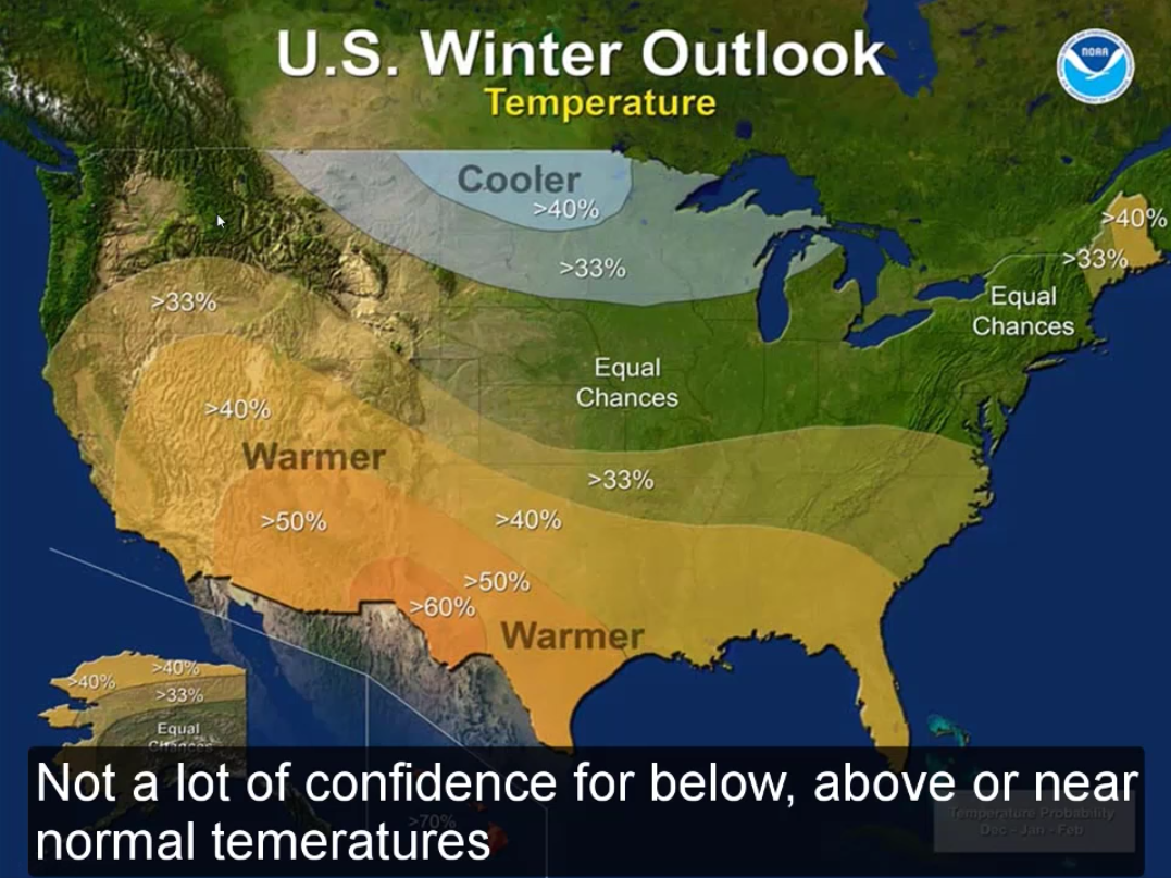 US Winter Outlook Temperature for Winter 2016/17. image: noaa