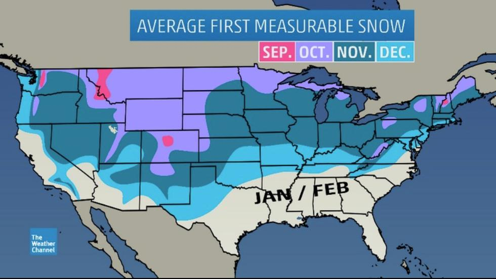 month of the average first aculating 0 1 inch or greater snowfall of the season